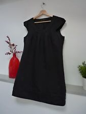Ladies Lovely E vie Collection Black Linen Mix Thigh Length Lined Dress 12, Vgc