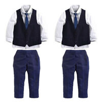 1set Fashion Boys Formal Suit Jacket Waistcoat Trousers Shirt Tie Formal Top