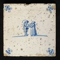1640s Antique Delft Tile - Tin-glazed Earthenware - Dutch People Romantic Scene