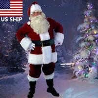 USA! Santa Claus Suit Adult Christmas Costume Fancy Dress Deluxe Velvet Full Set