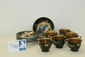 J.B Betson's Dragon Ware China Coffee / Tea Set w/ Teacups & 6 Saucers