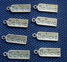 8 Spiritual Words BELIEVE Bronze Tone Tag Charms