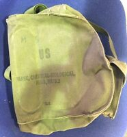 Vietnam US Army USMC M17 Series M17A1 M17A2 Canvas Gas Mask Carry Bag w/Straps