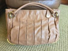 $950 BALLY LYSIA PURSE TOTE HOBO HANDBAG CARAMEL BEIGE LEATHER GOLD HARDWARE