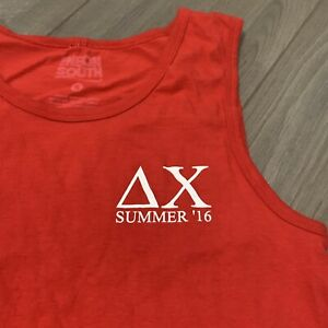 Delta Chi UMass Amherst Tank Top Adult S Red Whale American Flag USA