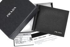 14de5154a372 NEW PRADA MILANO SOFT GRAINED BLACK LEATHER LOGO WALLET CARD HOLDER W/MONEY  CLIP