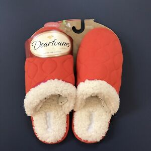 BRAND NEW Dearfoams Signature Slippers Fuzzy Medium (Womens 6.5-7.5) Holiday Red