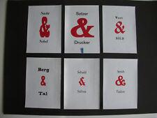 6 Et-Zeichen Varianten mit Wortspielen, gefertigt im Buchdruck - 1