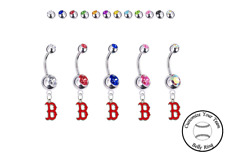 Navel Ring - Customize Gem Color - New Boston Red Sox B Logo Silver Belly Button