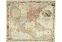 United States, Colton's Map; 1849; Handsome Antique Map