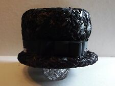 Vintage Black Woven Straw With Black Ribbon & Vinyl Trim Ladies Hat Union Made