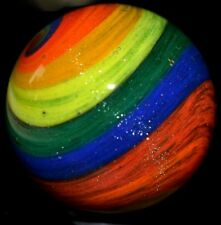 "HANDMADE GLASS MARBLE/1.518""RAINBOW RIBBONS w/DICHROIC SPRINKLES-TEAL,ROYAL,ORG+"