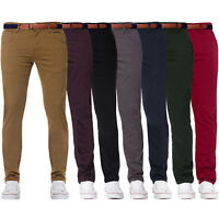 Enzo Designer Mens Fashion Chinos Stretch Skinny Jeans Slim Fit Pants Free Belt