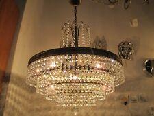 Antique Vnt French Gigantic Real Swaorvski Crystal Brass Chandelier Lamp 1940s