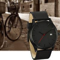 Fashion Mens Analog Sport Wrist Stainless Steel Case Quartz Leather Watch
