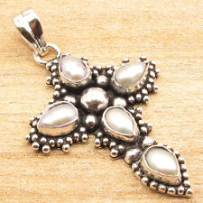 """WHITE PEARL 5 STONE VINTAGE STYLE CROSS Pendant 1.8"""" ! Silver Plated Jewelry"""