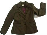 Ladies Tailored Tweed Wool Blend Jacket Blazer Green Elbow Patch Tu Premium UK10