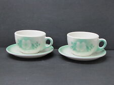 Syracuse China USA Millbrook 2 Cups & Saucers Set Airbrush White Flowers