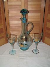 ~Vintage Murano Glass Wine Decanter W/Two Blue Wine Glasses With Gold Overlay~