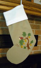 HANDPAINTED Partridge in a Pear Tree HANDMADE CHRISTMAS STOCKING * FREE SHIP