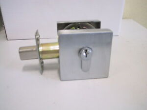 2 x Square Double Cylinder Deadlock  with Keys  (Satin Chrom)