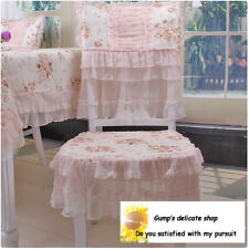 Shabby Delicate Victorian Pink Rose Floral Chair Pad & Chair back cover B