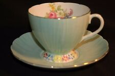 Foley Flower footed Green  Cup and Saucer