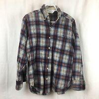 WOOLRICH Men's Blue Red Plaid Wool Flannel Lumberjack LS Shirt Sz M Button Up