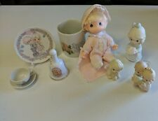 Precious Moments Lot of 8 Figurines with boxes, MUG,DOG,BELL,TEA,DOLL,PLATE,