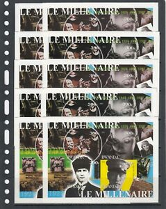Kemal Ataturk Music Millennium 2001 Rwanda MNH 4 v set IMPERF X 10 Wholesale lot