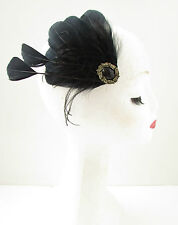 Black Gold Feather Fascinator Races Hair Clip Vintage 1920s 1940s Art Deco B04