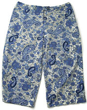 Coldwater Creek Womens Capris Pants Blue White Floral Paisley Casual Size 14