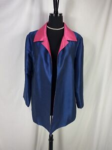 Grace Chuang Jacket NWT Open Front Navy and Hot Pink