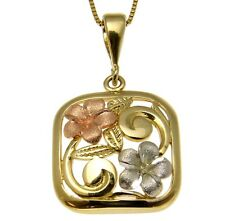 14K PINK ROSE YELLOW WHITE GOLD TRI COLOR HAWAIIAN PLUMERIA FLOWER PENDANT MAILE