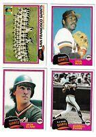 1981 Topps San Francisco Giants Team Set - (25) Cards - Vida Blue Jack Clark