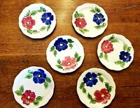 "SET OF 6 Heritage Ware By Stetson 6"" handpainted plates Cosmos some with crazing"