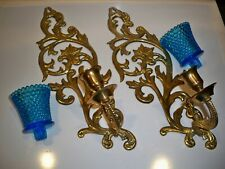 2 Decorative Brass Sconces Candle Holders With Blue Votive Cups 14 1/2''