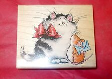 Margaret Sherry Collection Cat rubber stamp penny Black mouse love note 1300K