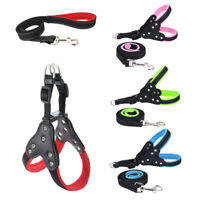 Reflective Large Dog Harness Vest Leash Safety Strap Mesh Pet Leads Rhinestone