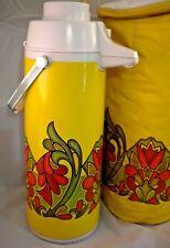 Vtg Peacock Vacuum Bottle Push-button kujaku yellow 1970's pattern Thermal Case