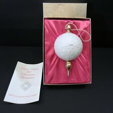 Lenox Limited Edition 1982 Ivory Embossed 24 kt Gold Christmas Ornament Iob