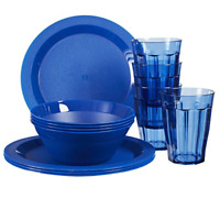 12 piece Cambridge Plastic Plate Bowl and Tumbler Dinnerware & Dishwasher Safe