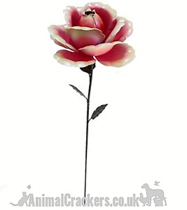 62cm Pink metal ROSE flower garden decoration Valentines or Mothers Day Gift