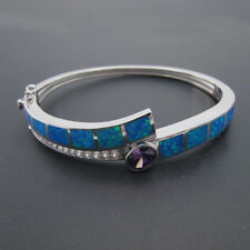 Sterling Silver 925 Blue Fire Opal Triangle Amethyst Bracelet Bangle For Women