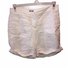 J Jill Womens Size 8 White Linen Flat Front Casual Walking Shorts Pockets Cuffs