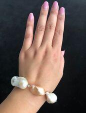 ExtremelyHuge! SilverGenuine Natural Multicolor BaroqueFreshwater Pearl Bracelet
