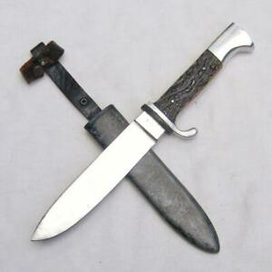 """KUNO RITTER/ ULRICH Solingen Germany c. 1950 """"Scout"""" hunting knife Orig scabbard"""
