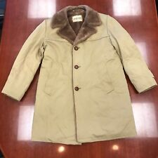 Vintage Zero King Brown Car Coat Faux Fur Lining Collar Men's Size 42