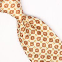 Gladson Mens Silk Necktie Yellow Orange Gold Geometric Check Print Tie Italy
