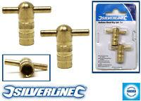 2 x Silverline Radiator Plumbing Bleed Bleeding Key Keys Solid Brass Vent Valve